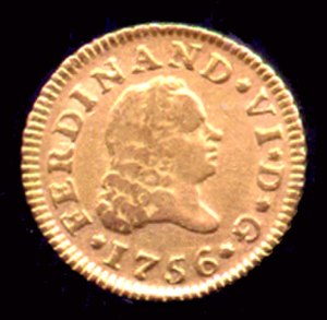 Ferdinand VI of Spain - Half escudo gold coin of Ferdinand VI, dated 1756