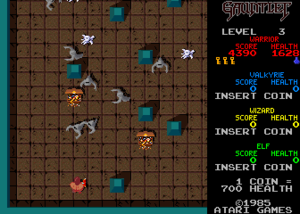 Gauntlet (1985 video game) - A screen showing the typical gameplay of Gauntlet. The Warrior is in the lower left with several Ghosts approaching him. Two treasure chests are also visible. On the right, it is indicated that the Valkyrie, Wizard and Elf have not joined the game