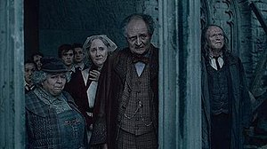 Hogwarts staff - Four Hogwarts staff members in Harry Potter and the Deathly Hallows – Part 2. From left to right: Miriam Margolyes as Pomona Sprout, Gemma Jones as Poppy Pomfrey, Jim Broadbent as Horace Slughorn, and David Bradley as Argus Filch.