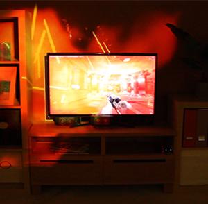 IllumiRoom - IllumiRoom proof-of-concept, on the screen Red Eclipse