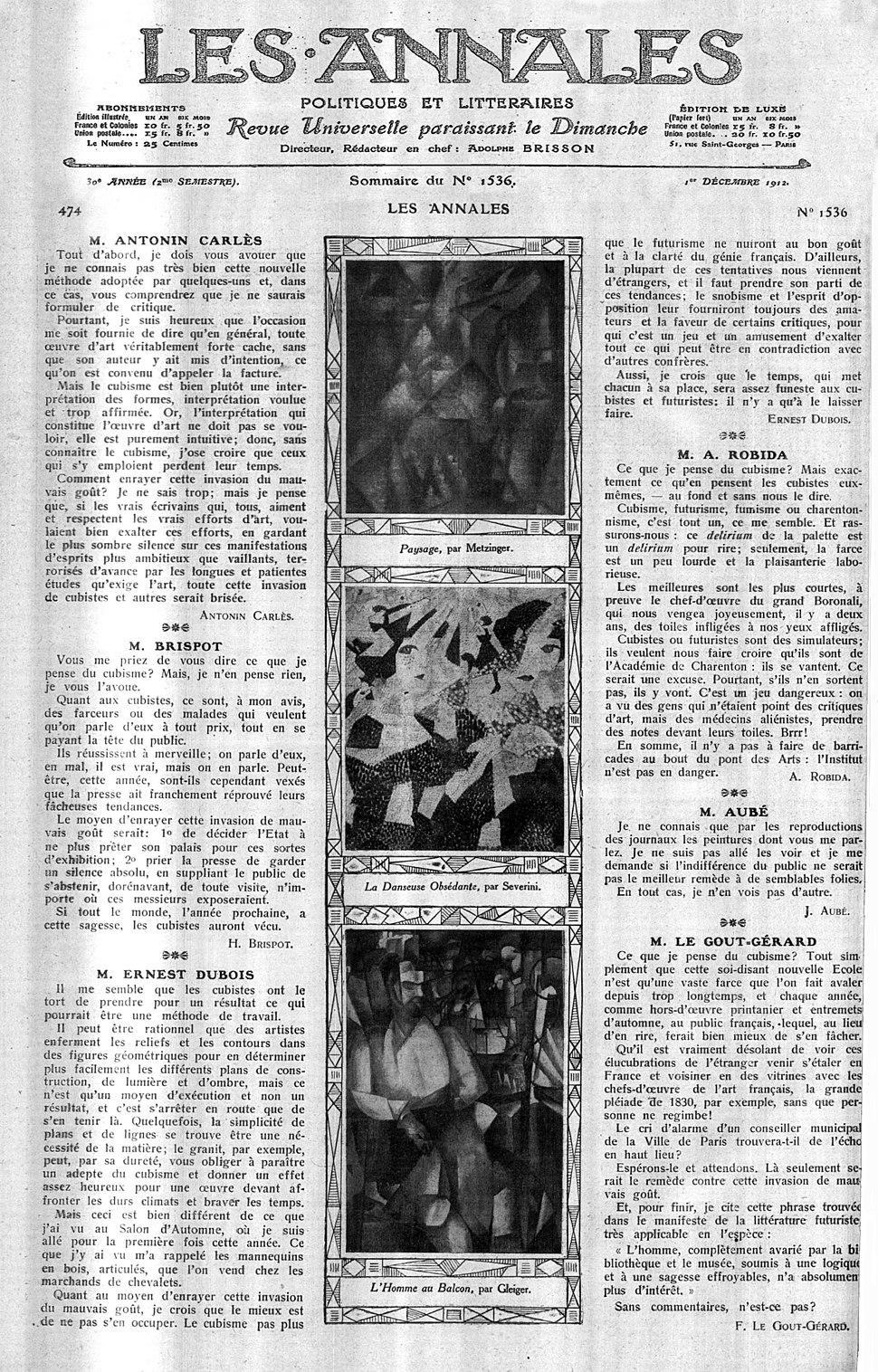 Jean Metzinger, Gino Severini, Albert Gleizes, Les Annales politiques et littéraires, Sommaire du n. 1536, décembre 1912