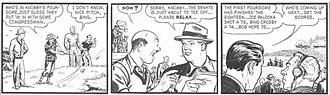 Joe Palooka - Joe Palooka plays golf with Bob Hope and Bing Crosby in a 1949 Joe Palooka strip by Ham Fisher and Moe Leff.