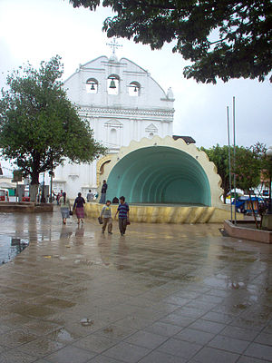 Uspantán - Amphitheater and Cathedral overlooking parque central after a rain. (2007)
