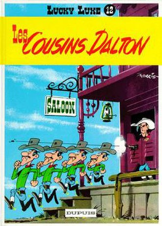 The Daltons (Lucky Luke) - The Dalton Gang's Cousins - from right to left: Joe, Jack, William, and Averell - in their first appearance. In most later versions, William and Jack swap sizes, making the order Joe, William, Jack, Averell.