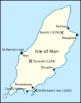 Map of Mann, showing the location of St. Michael's Isle and Castle Rushen.