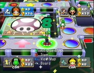 Mario Party 4 - Characters must hit a dice block to move forward on the board; the mushroom represents an Item Shop.