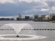 View of Lake Merritt looking toward the Alameda County Courthouse.