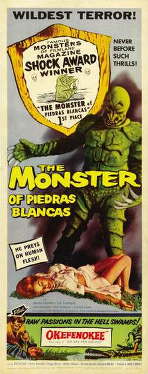 The Monster of Piedras Blancas - Theatrical release insert poster for the film's double-feature release with Okefenokee
