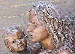 Faces of mother and child; detail of sculpture at Soldier Field, Chicago, Illinois, USA.