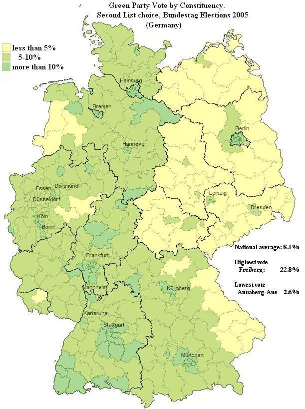 National Vote map die Gruenen