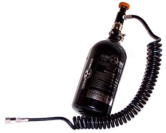 Paintball equipment - A Pure Energy N2 tank with a remote line attached