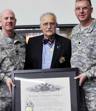 Order of the Founders and Patriots of America - The 1-126th Aviation battalion of the Rhode Island National Guard was recognized by the OFPA in 2012.  The certificate is being presented by Governor John Eastman of the Rhode Island Society.