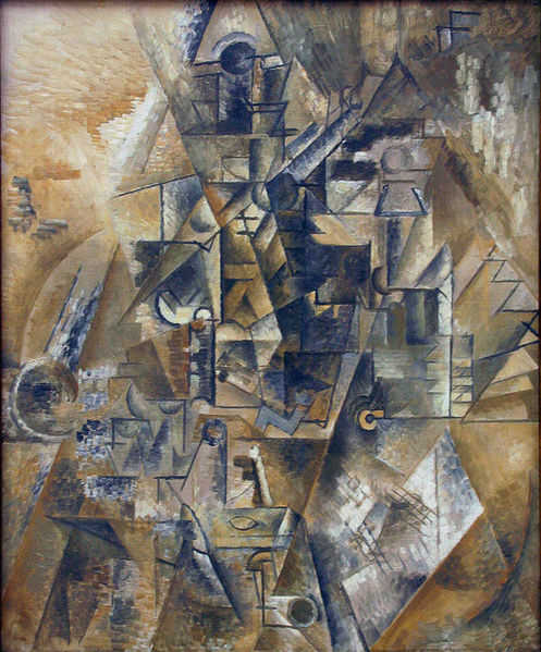 File:Pablo Picasso, 1911, Clarinet (Still Life with a Clarinet on a Table), oil on canvas, exhibited at Centre for Modern and Contemporary Art, Veletrzni (Trades Fair) Palace, Prague.jpg
