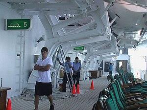 Deck (ship) - Crew and passengers on the wraparound deck of RMS ''Queen Mary{{nbsp}}2'', an ocean liner