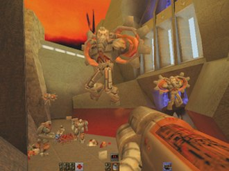 Quake II - The single-player mode in Quake II involves gun-battles often with multiple enemies in large, outdoor areas.