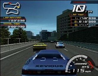 Ridge Racer V - Screenshot of a race in progress.
