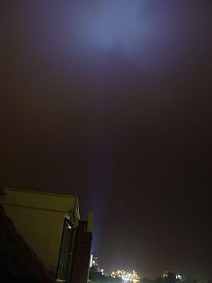 Light pollution - An example of a light pollution source, using a broad spectrum metal halide lamp, pointing upward at Uniqema factory, Gouda, the Netherlands.