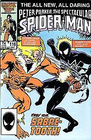 Sabretooth battling Spider-Man on the cover of Peter Parker, The Spectacular Spider-Man #116. Art by Rick Buckler.