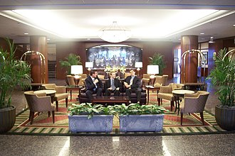 Cornell University School of Hotel Administration - Lobby and students at the Statler Hotel