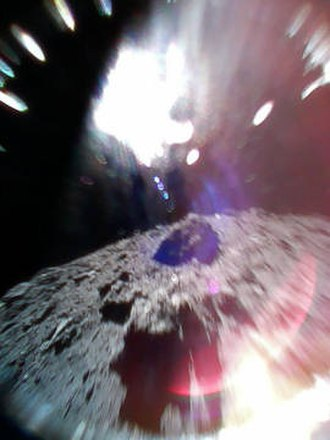 """Hayabusa2 - The first photograph from the surface of an asteroid, taken by HIBOU on 22 September during one of its """"hops""""."""