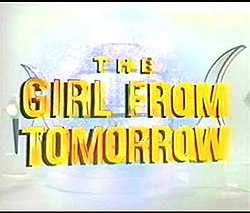 The show's title in giant reflective gold font over an image of the Time Capsule launch room in the year 3000.
