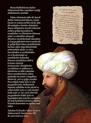Ottoman Archives - Image: To Bosnian Christians Fatih promise to protect them from Ottoman Archives Turkey publication