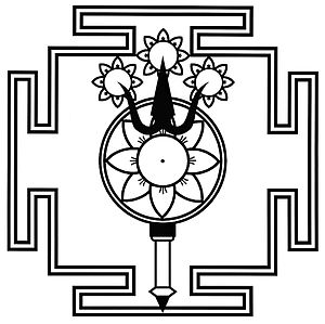 Kashmir Shaivism - The trident (triśūlābija maṇḍalam), symbol and yantra of Parama Shiva, representing the triadic energies of parā, parā-aparā and aparā śakti