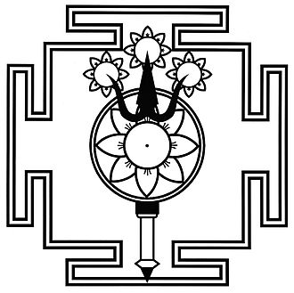 Kashmir Shaivism - The trident (triśūlābija maṇḍalam), symbol and yantra of Parama Shiva, representing the triadic energies of the supreme goddess Parā, Parā-aparā and Aparā śakti.