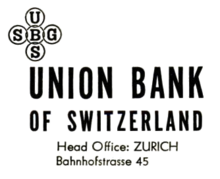 The Union Bank Of Switzerland Logo Ca 1960 An Early Incarnation Its Featuring Crossing Ubs And Sbg Acronyms Later Versions Would Have English