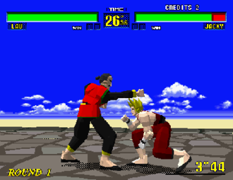 Fighting game - Virtua Fighter is rendered in 3D, but is typical of most fighting games in that most action takes place in a 2D plane of motion. Here, one player ducks the other's attack.