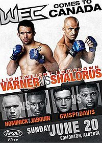 A poster or logo for WEC 49: Varner vs. Shalorus.