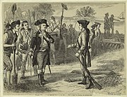 A wood engraving showing Putnam (center left) meeting with Joseph Warren before the Battle of Bunker Hill