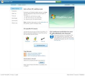 Screenshot of Windows Live OneCare Safety Scanner