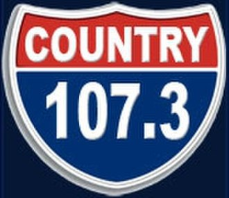 """WNBL (FM) - Logo as WCRR/WROO """"Country 107.3,"""" used from May 18, 2007 through September 9, 2009"""