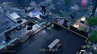 XCOM 2 - Gameplay screenshot of XCOM 2, showing the player-controlled character peeking around the corner