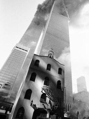 St. Nicholas Greek Orthodox Church - The original church on 9/11 just before it was crushed by the South Tower (2 World Trade Center).