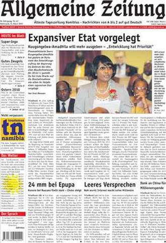Allgemeine Zeitung (Namibia) - Image: Az frontpage 31032010