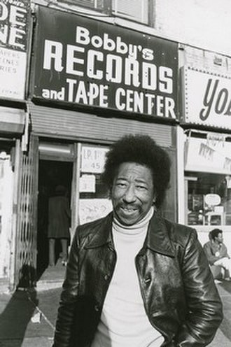 Bobby Robinson (record producer) - Robinson in front of his record store, 1977.