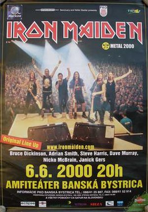 Brave New World Tour - Official tour advertisement for the band's performance in Banská Bystrica, Slovakia, 6 June 2000