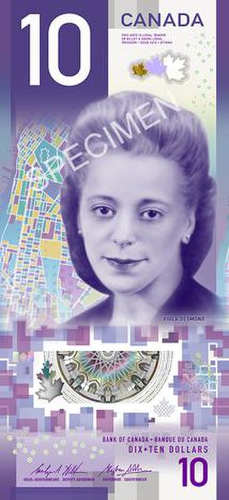 Canadian ten-dollar note - Image: Canadian $10 note 2018 specimen face