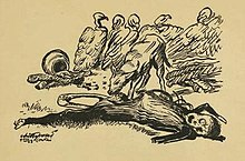 Hand-drawn sketch of a half-eaten corpse on the ground, a jackal gnawing on its leg bone, five vultures waiting for the jackal to leave. The corpse's facial expression resembles someone screaming.