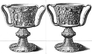 Cup of the Ptolemies - Engravings of the front and the back of the cup made for Michel Félibien in 1706, depicting the mounts and Latin inscriptions.