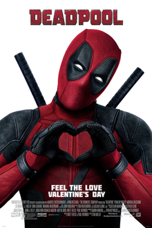 Official poster shows the title hero Deadpool in his traditional red and black suit and mask with his hands forming a heart, and the film's name above him with credits and billing below him.