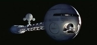 Science fiction film - 2001: A Space Odyssey, the landmark 1968 collaboration between filmmaker Stanley Kubrick and classic science fiction author Arthur C. Clarke featured groundbreaking special effects, such as the realization of the space ship Discovery One (pictured here)
