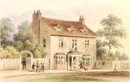 The Farthing Pie House in 1780, painted c. 1850 by Thomas H. Shepherd