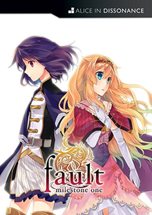 "The game's cover art, featuring two stylized characters on a white background. The woman on the left, Ritona, has purple hair and wears a dark dress, and the woman on the right, Selphine, is blonde and wears a pink dress. In front of them is the game's logotype, with the words ""fault milestone one"" in red in front of an orange symbol; the word ""fault"" is in large fonts and on its own row, while ""milestone one"" is written below and in smaller fonts."