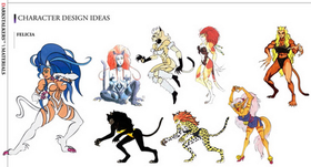Concept art, showing various design ideas for cat-like women.