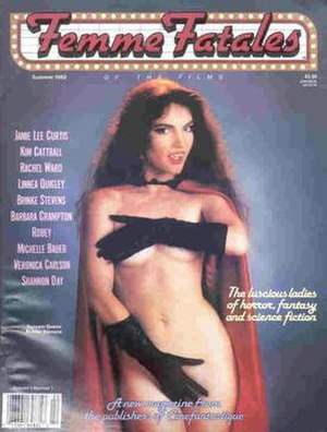 Femme Fatales (magazine) - Cover of the premiere issue of Femme Fatales, Summer 1992, featuring B-movie actress Brinke Stevens.