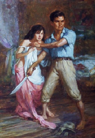 Fernando Amorsolo - Detail from Fernando Amorsolo's 1945 Defence of a Filipina Woman's Honour, which is representative of Amorsolo's World War II-era paintings. Here, a Filipino man defends a woman, who is either his wife or daughter, from being raped by an unseen Japanese soldier. Note the Japanese military cap at the man's foot