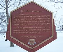 First Mennonite Settlement Sign in Kleefeld Park